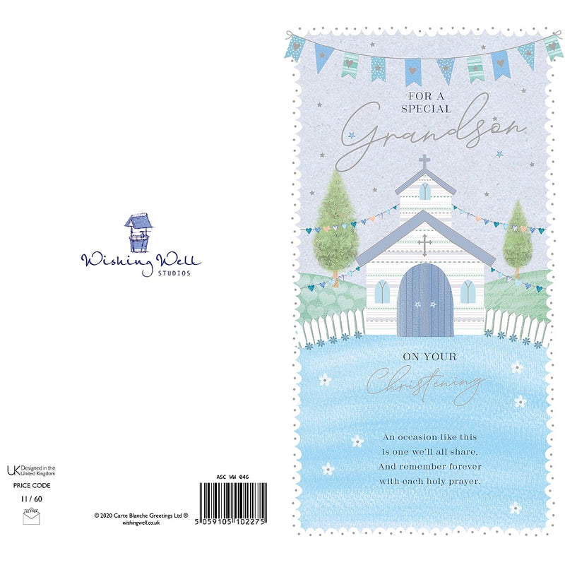 For a Special Grandson Christening Day Card