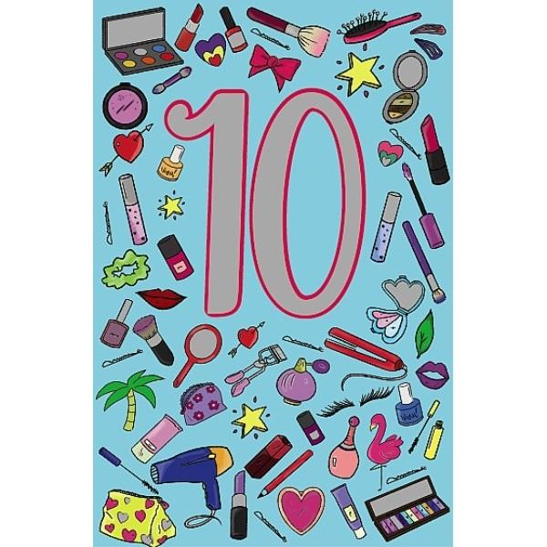 10th Birthday Card - Hair Dryer Thinner Lipstick Cover