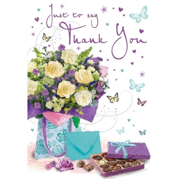 Just To Say Thank You Flowers & Butterflies Card