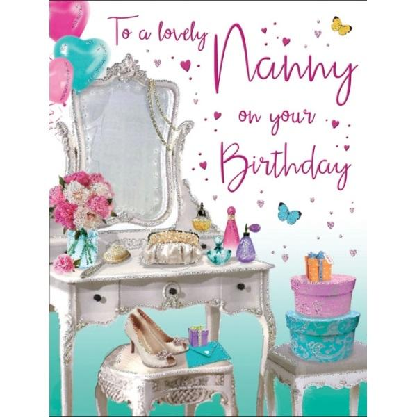Birthday Card - To a lovely Nanny