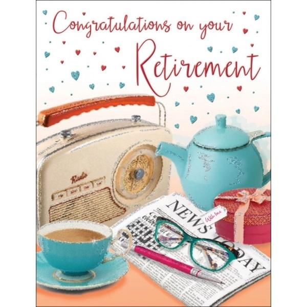 Congratulations On Your Retirement Newspaper & Tea Card