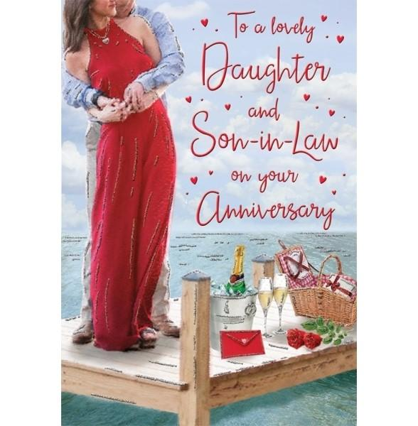 Lovely Daughter & Son-in-law Seafront Anniversary Card