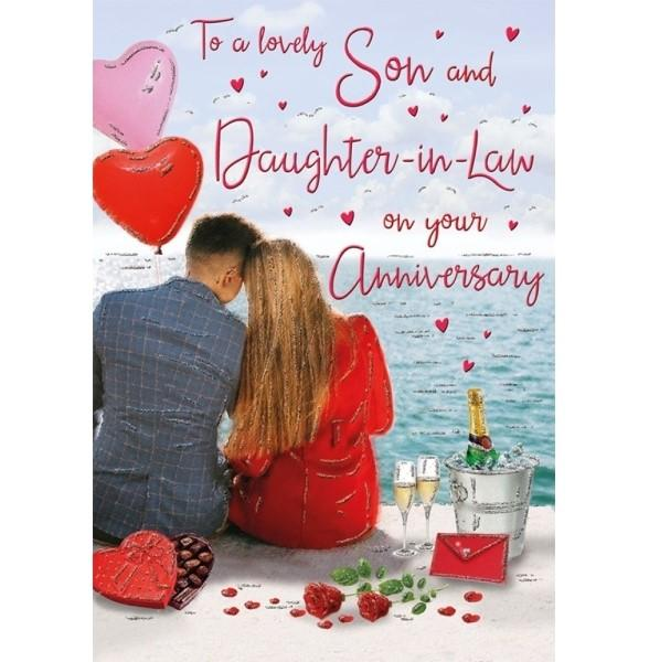 Romantic Seafront Son & Daughter-in-law Anniversary Card