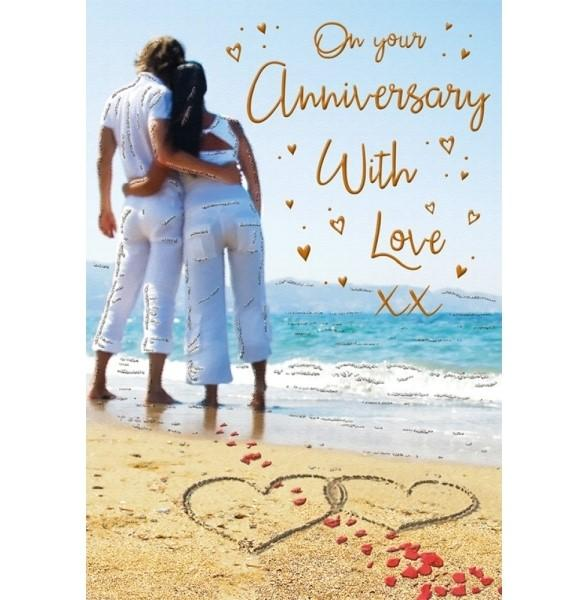 Romantic Beach Couple Anniversary Card