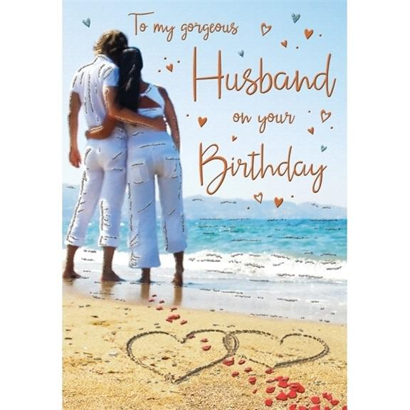 Beach Gorgeous Husband Birthday Card