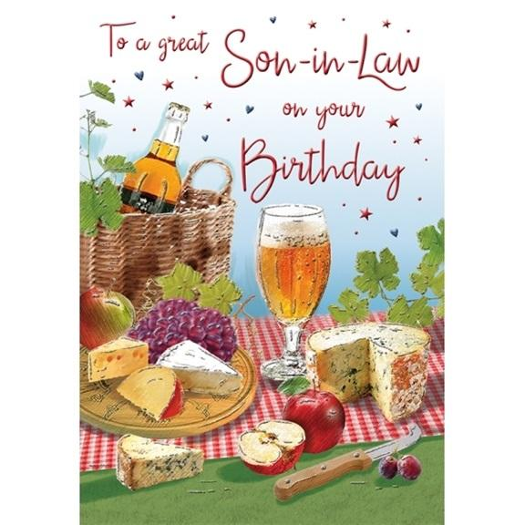 Beer And Cheese Great Son-in-law Birthday Card
