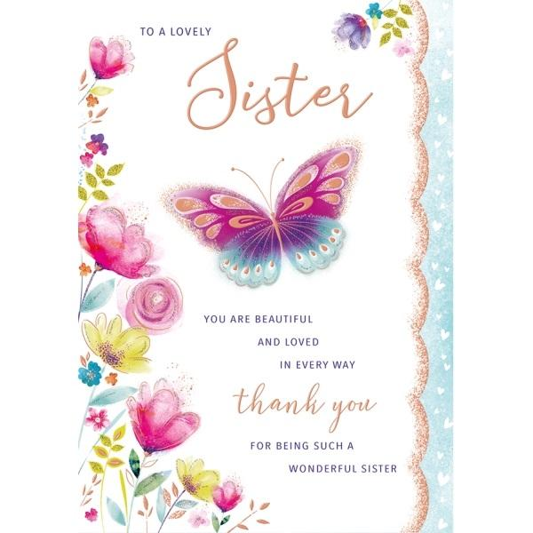 Birthday Card - Sister Pink Butterfly