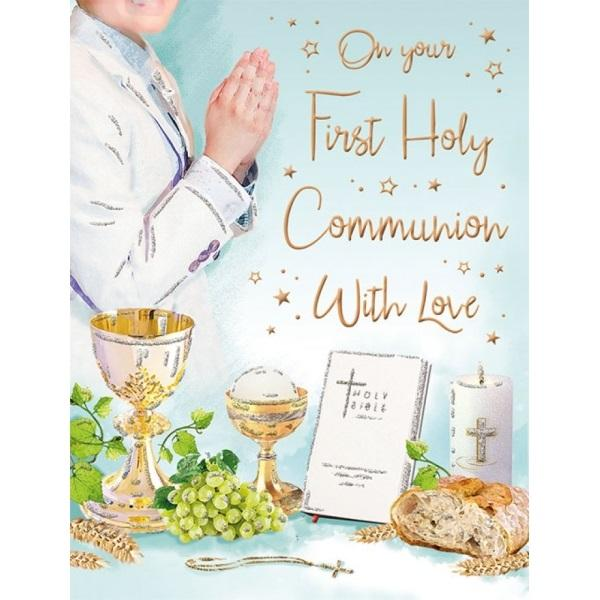 On Your First Holy Communion With Love Boy Card