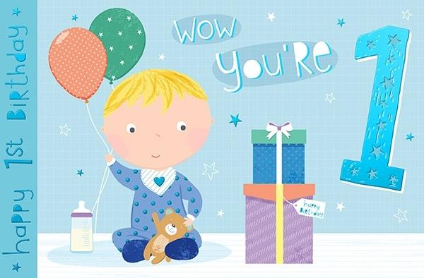 1st Birthday Card - Wow You're 1 Presents Cover