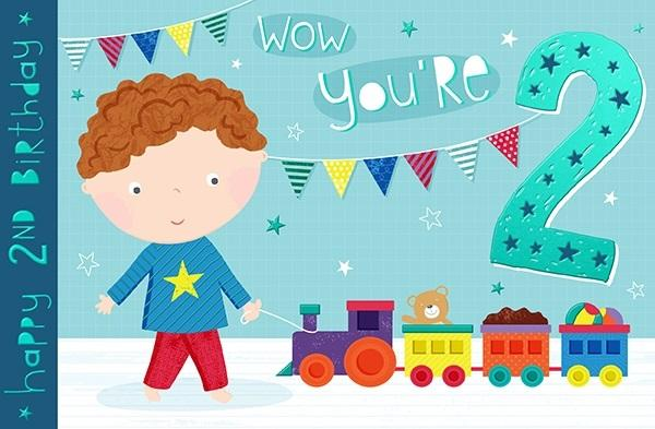 2nd Birthday Card - Wow You're 2 Train