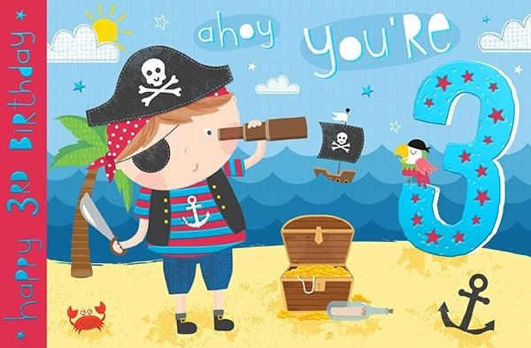3rd Birthday Card - Ahoy You're 3 Pirate