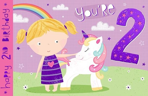 2nd Birthday Card - You're 2 Unicorn