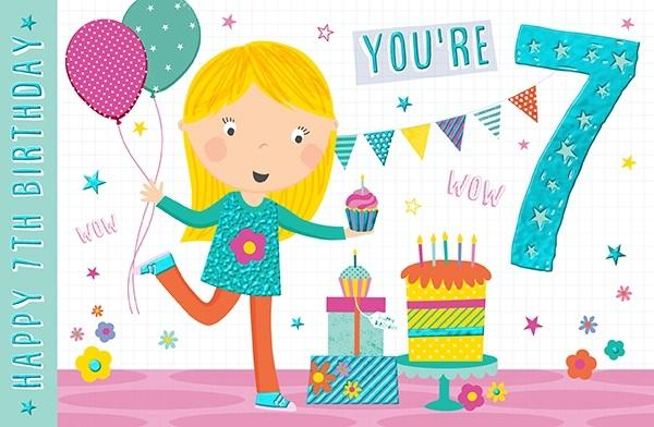 7th Birthday Card - You're 7 Balloons and Cupcake