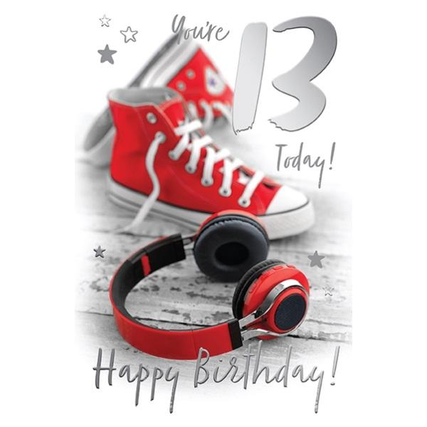 13th Birthday Card - You're 13 Today! Red Shoes & Headphones