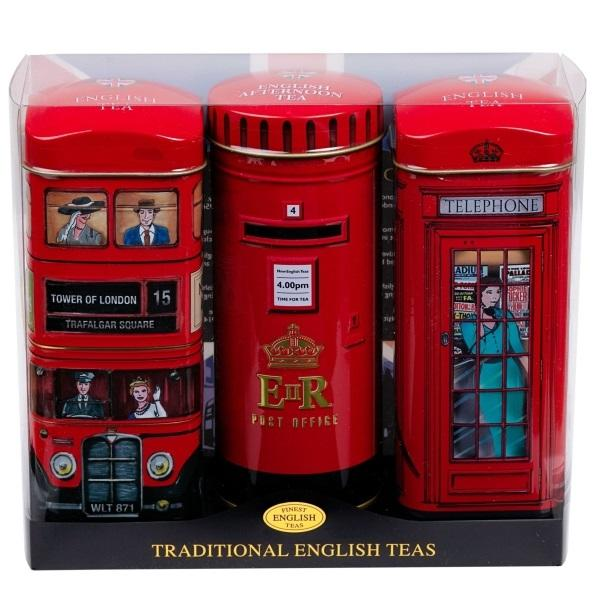 Triple Tea Tin Set - Bus, Post Box & Telephone Booth 14 Teabags Each