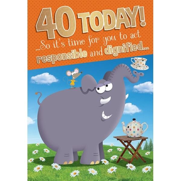 40th Birthday Card - Elephant drinking tea