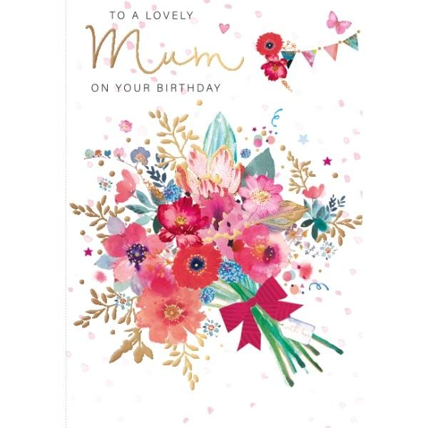 Birthday Card - Mum Mix of Flowers Card