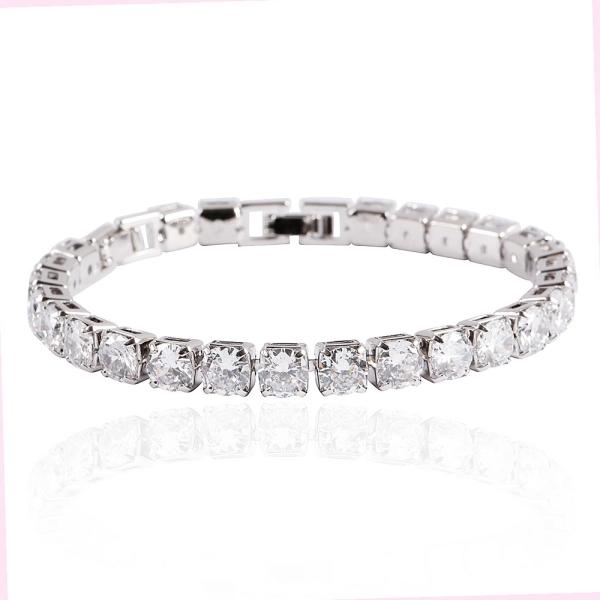 CZ Small 6mm Square Diamante Bracelet