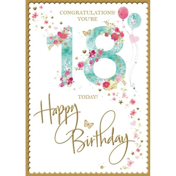 18th Birthday Card - Congratulations, Blue & Pink