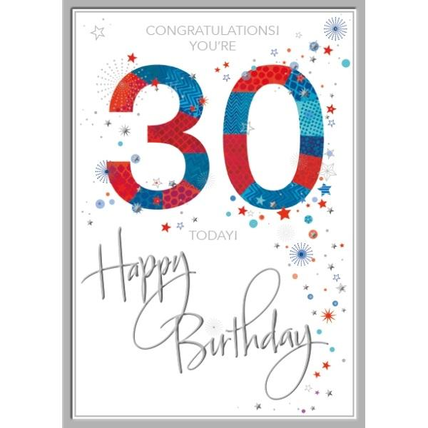 30th Birthday Card - Congratulations, Red & Blue
