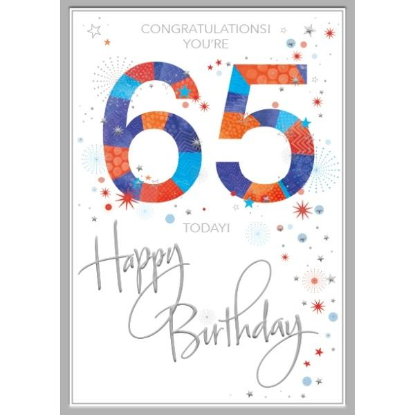 65th Birthday Card - Congratulations, Orange & Blue