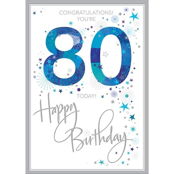 80th Birthday Card - Congratulations, Teal & Purpel with Silver Trims