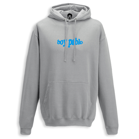 Embroidered Blue Logo Grey Hoody