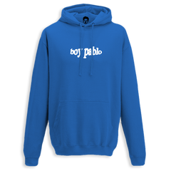 EMBROIDERED WHITE LOGO BLUE HOODY