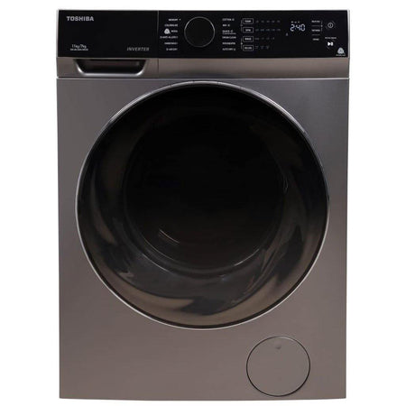 Toshiba Washer Dryer Front Load 11Kg Washing  With 7kg 100% Drying , Real Inverter, The Great Waves, Sense Dry, Air Fresh TWD-BK120M4-IND(SK) - Mahajan Electronics Online