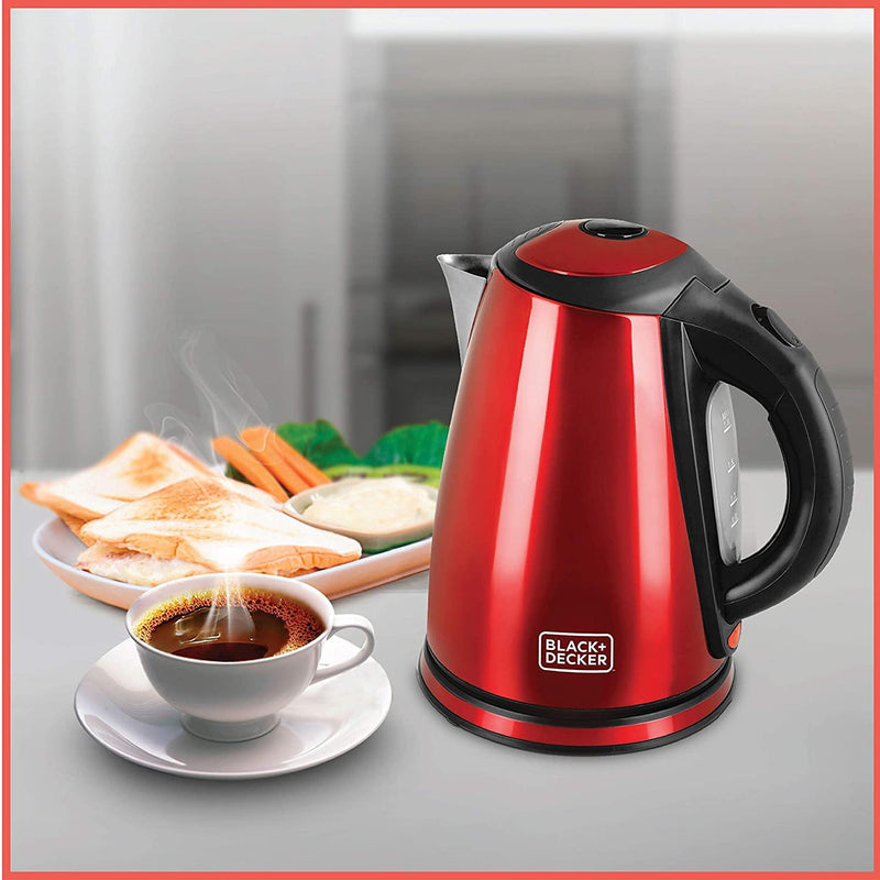Black & Decker Appliances 1.8-Litre Stainless Steel Electric Kettle (Red) - Mahajan Electronics Online