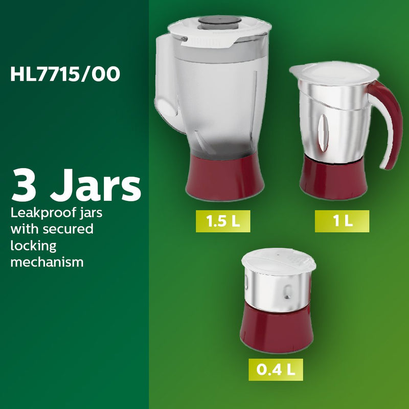 Philips Viva HL7715 700-Watt Juicer Mixer Grinder with 3 Jars (Pistil Red/White) - Mahajan Electronics Online