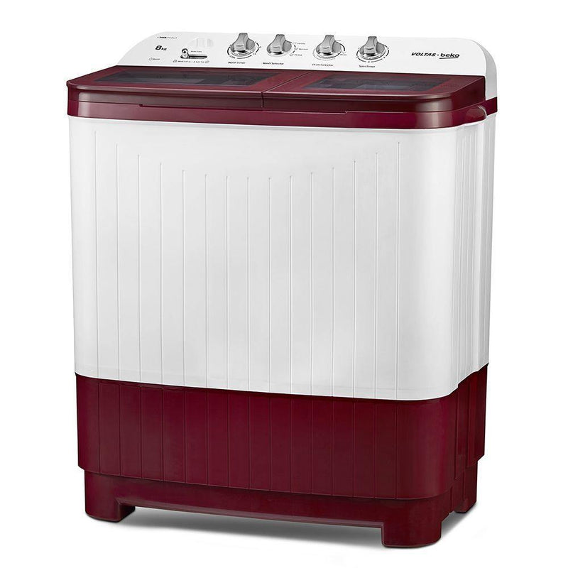 Voltas Beko 8 kg Semi Automatic Washing Machine (Burgundy) WTT80DBRG - Mahajan Electronics Online