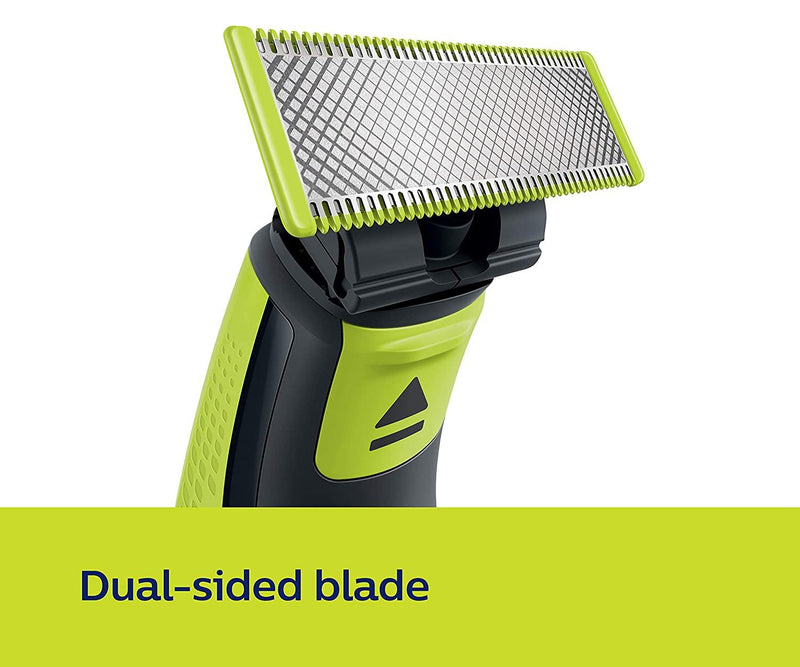 Philips QP2525/10 OneBlade Hybrid Trimmer and Shaver with 3 Trimming Combs (Lime Green) - Mahajan Electronics Online