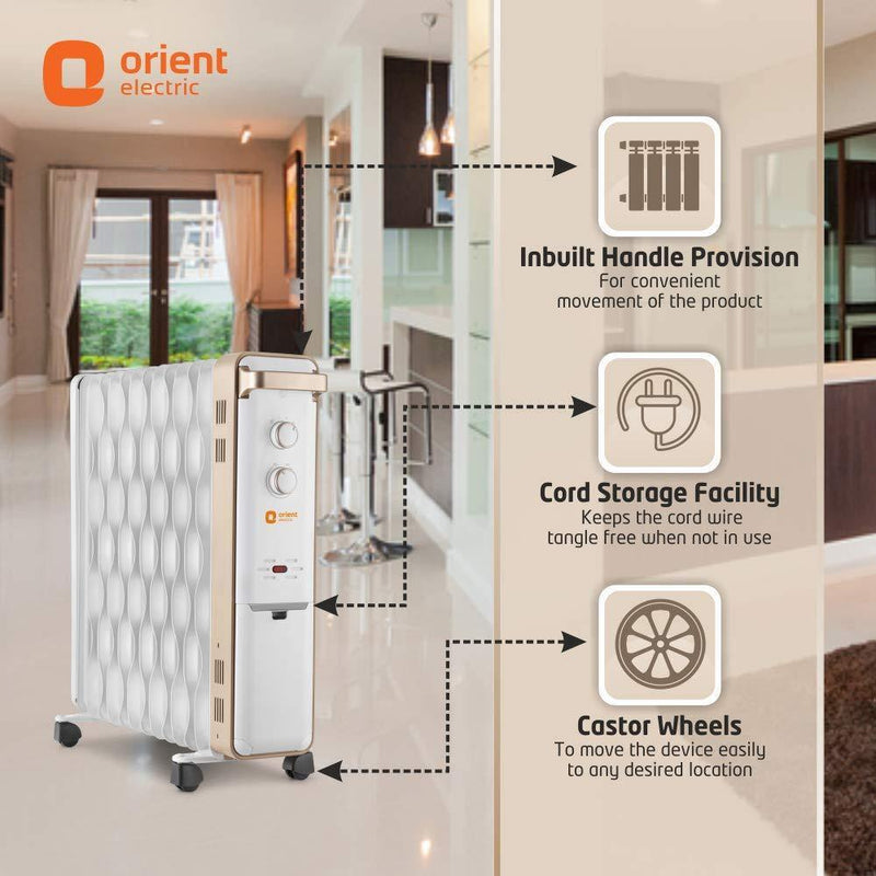 Orient Electric Ultra Comfort 13 Fin Oil Filled Radiator Room Heater (White; Gold) OFRUC13G3B - Mahajan Electronics Online