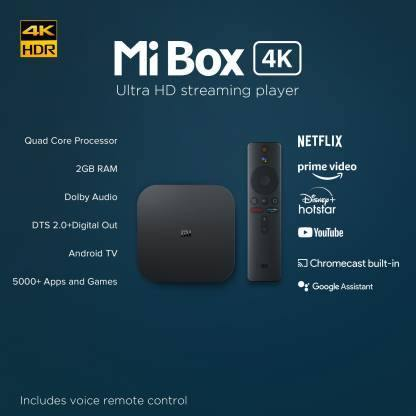 Mi Box 4k Media Streaming Device  (Black) - Mahajan Electronics Online