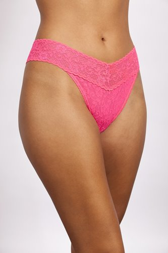LACE MIDRISE THONG PASSION PINK