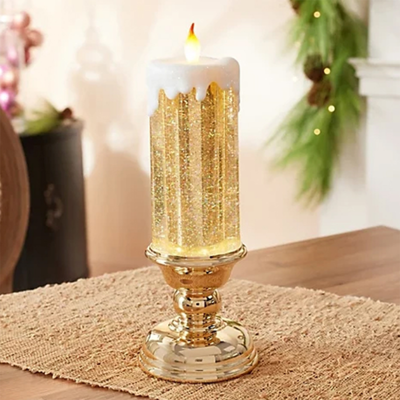 LED Waterproof Candle With Glitter