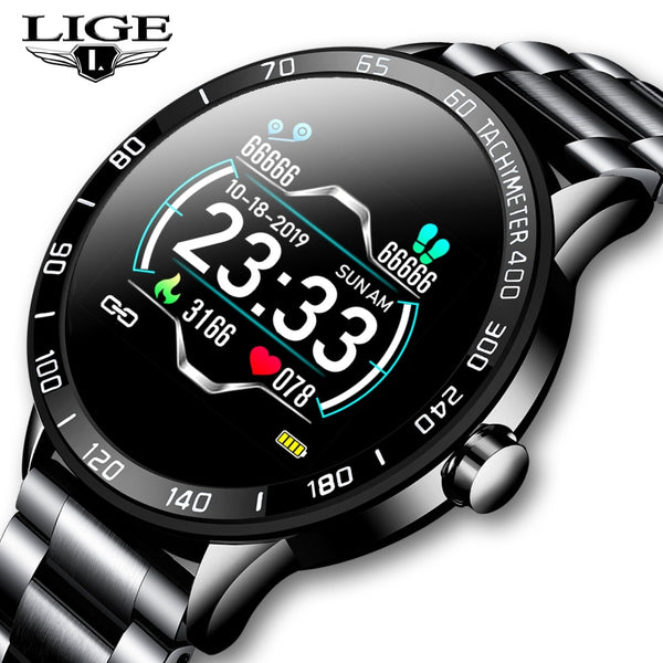 LIGE 2020 New Bluetooth Fitness Pulsmesser Smartwatch für Android Herren