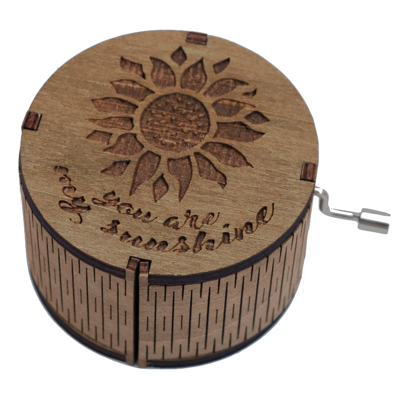 Hand-cranked Round-shaped Wooden Music Box