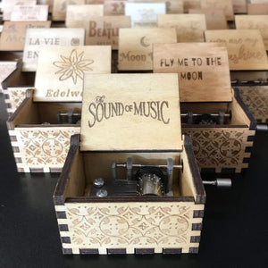 Hand-cranked Wooden Music Box, Selection of Your Favorite Pop-jazz Classics Tunes!
