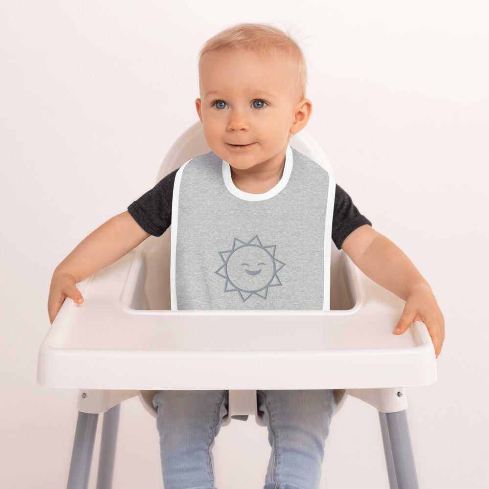 Embroidered Baby Bib | Designer Grey Colored Baby Bib | Stylish Baby Clothes