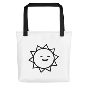 Smiley Sun Tote Bag | Designer Tote Bag | Stylish Womens Tote Bag