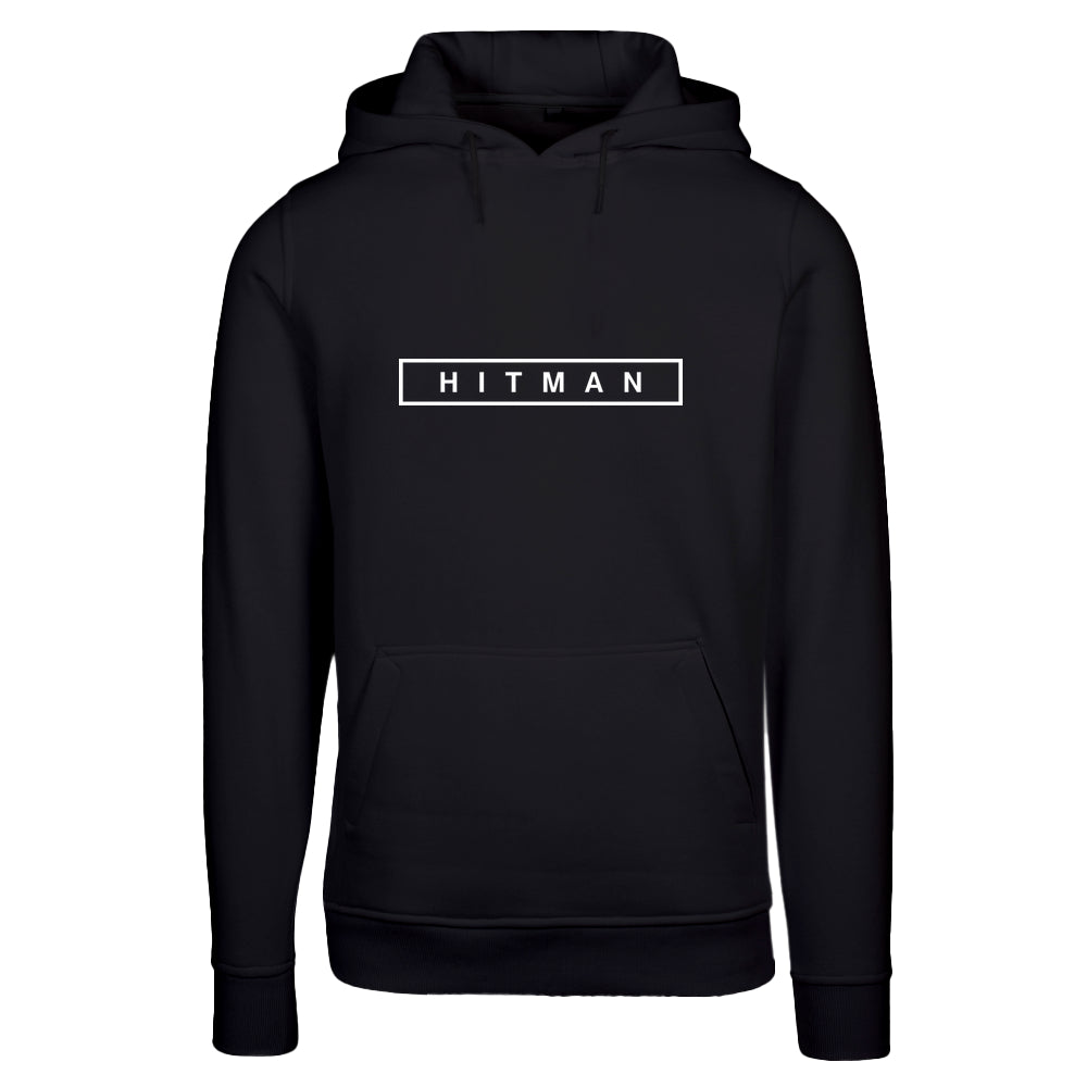 HITMAN Logo White with fitted Heavy Hoody