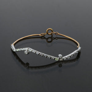 Fragment Baguette and Round Diamond Half Eternity Bangle