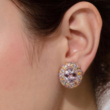 Load image into Gallery viewer, Kunzite and Multi Colored Sapphire Dome Earrings