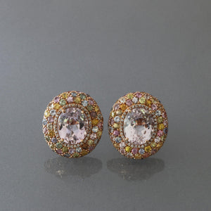 Kunzite and Multi Colored Sapphire Dome Earrings