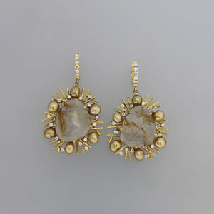 Golden Rutile Quartz Fragment Earrings