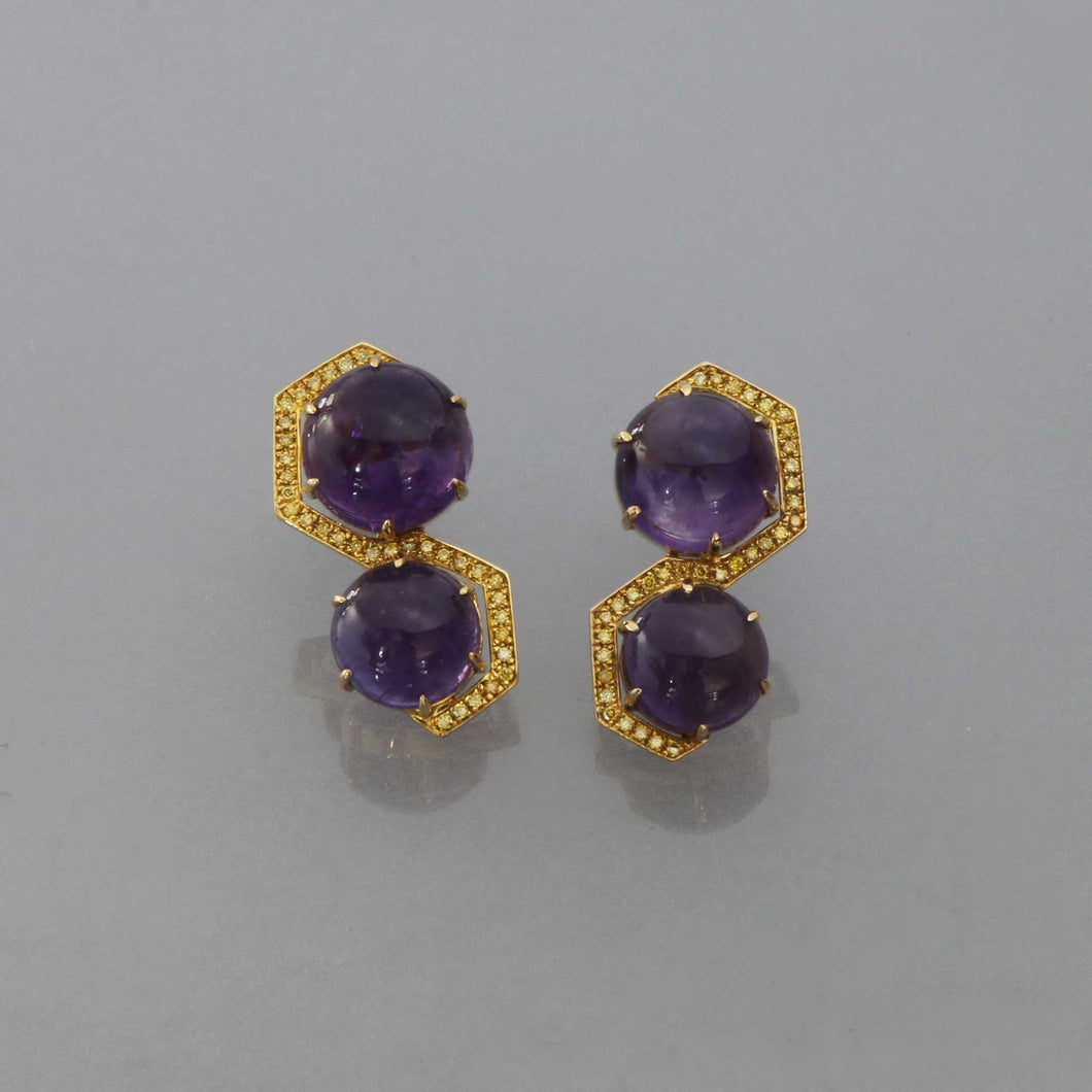 Amethyst Hex Wrap Earrings