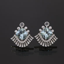 Load image into Gallery viewer, Art Deco Aquamarine and Diamond Earrings