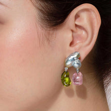 Load image into Gallery viewer, Baroque Keshi Pearl Earrings with Peridot and Pink Tourmaline Double Drops